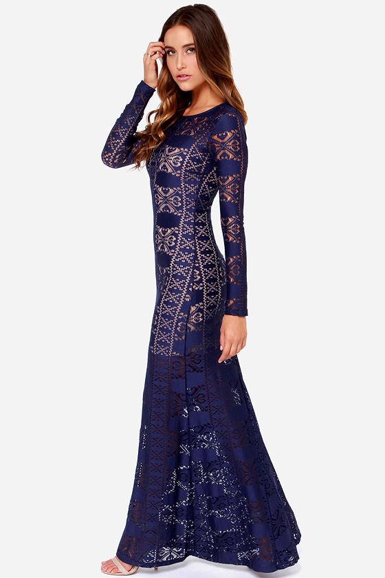 Navy Blue Lace Dress - Maxi Dress - Bodycon Dress - $69.00