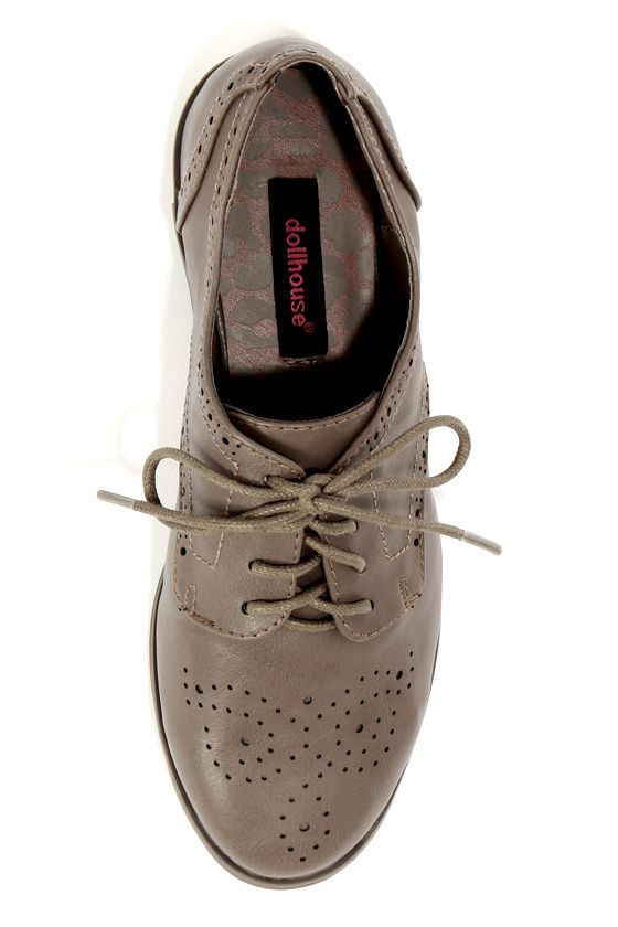 Dollhouse Joey Taupe Lace-Up Brogue Oxfords at Lulus.com!