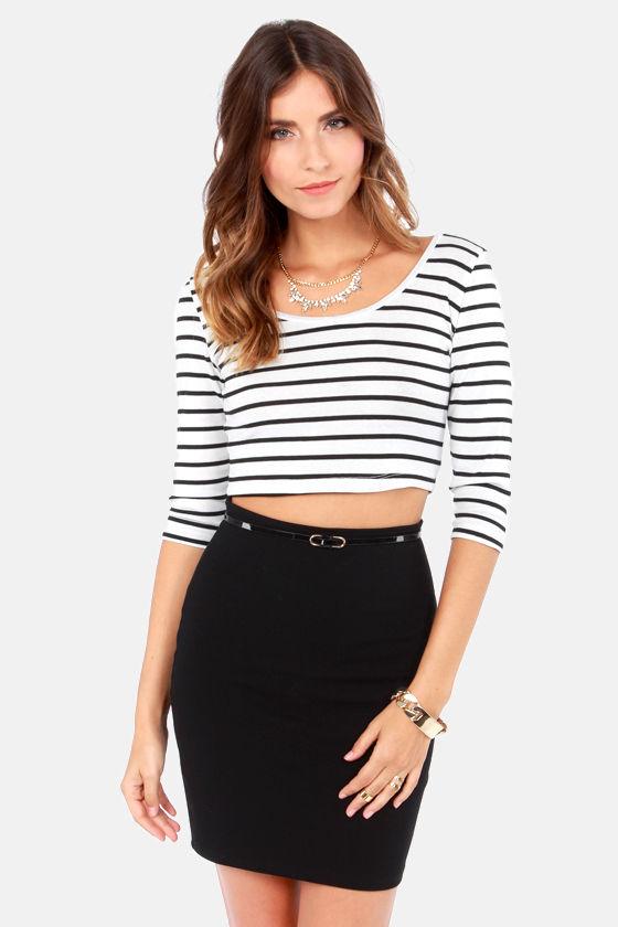 178c460189 Cute White Top - Black Top - Striped Top - Crop Top - $30.00