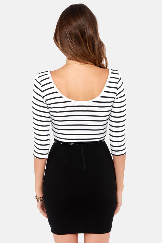 Crop Around Black and White Striped Crop Top at Lulus.com!