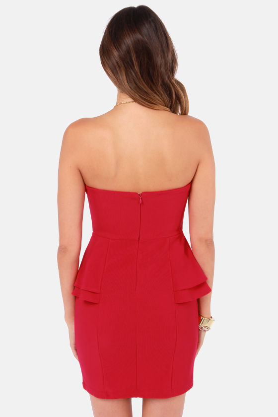 Watch Your Pep Strapless Red Peplum Dress at Lulus.com!