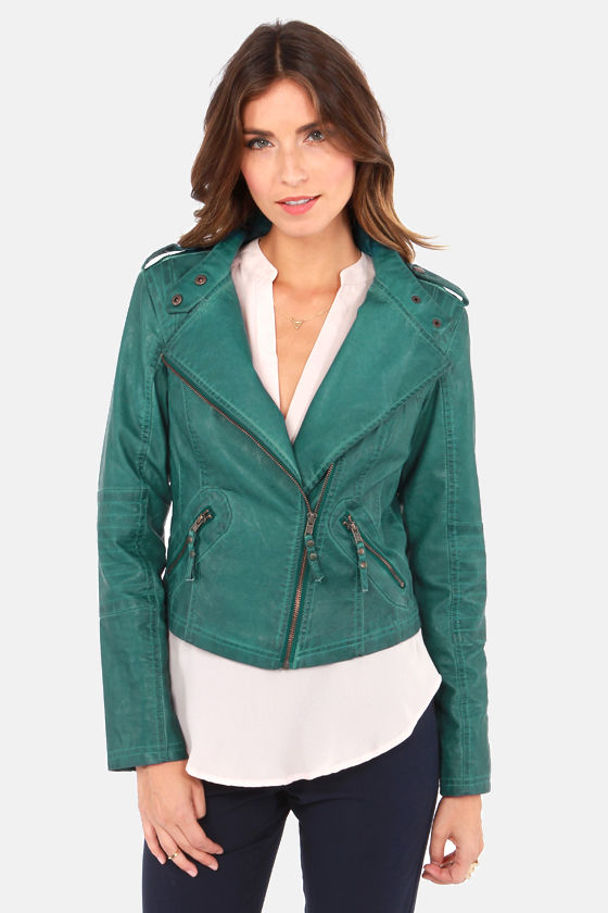 Black Swan Heart Teal Blue Vegan Leather Jacket at Lulus.com!