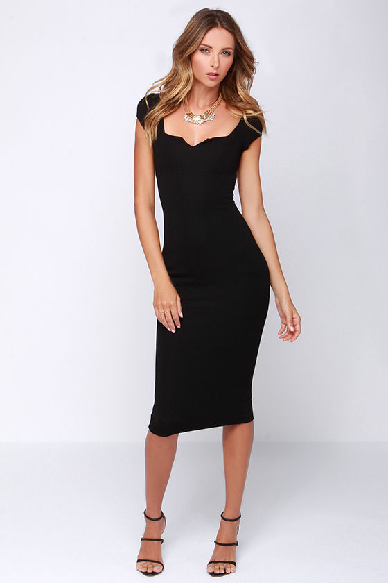 Chic Black Dress - Midi Dress - Bodycon Dress - $64.00