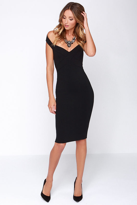 Chic Black Dress - Midi Dress - Bodycon Dress - $44.00
