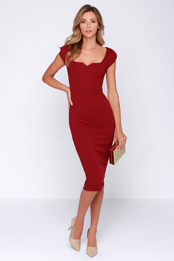 LULUS Exclusive Main Dame Wine Red Midi Dress
