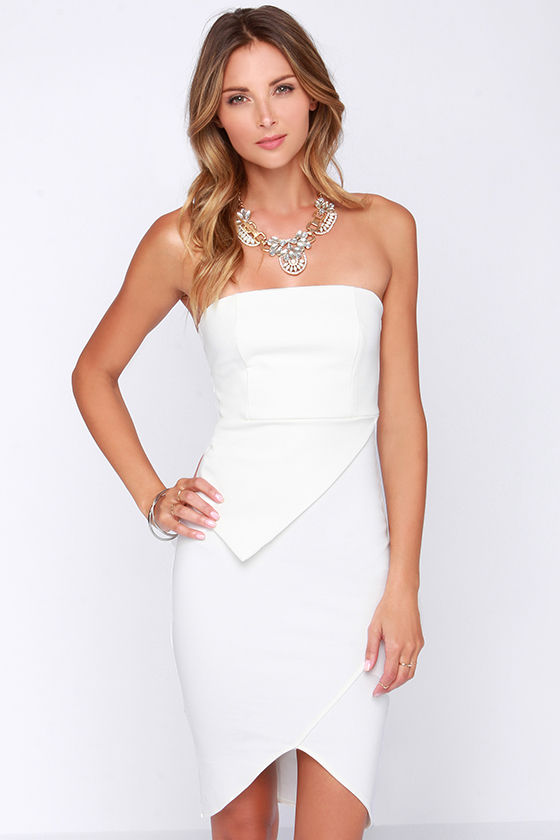 Ivory Dress - Strapless Dress - Bodycon Dress - $48.00