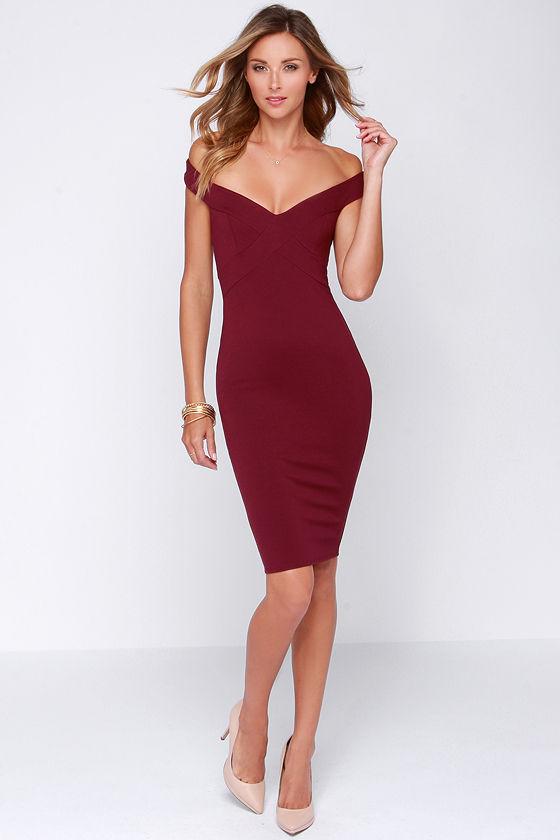 Chic Burgundy Dress Midi Dress Bodycon Dress 44 00