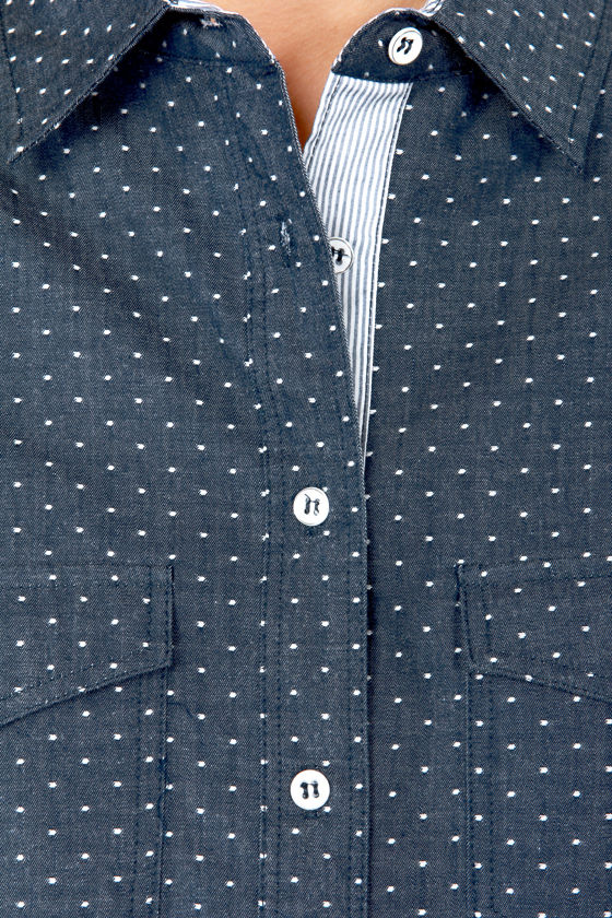 I Like You A Dot Blue Polka Dot Button-Up Top at Lulus.com!