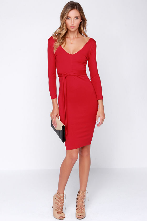 Red Dress - Midi Dress - Long Sleeve Dress - $48.00