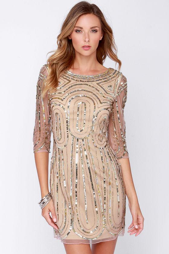 Gorgeous Blush Dress - Sequin Dress - Holiday Dress - $225.00
