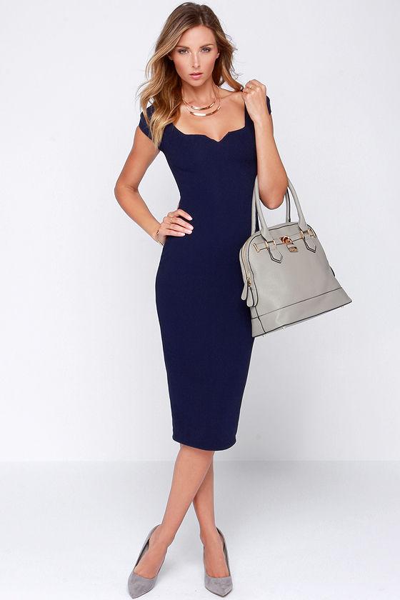 Navy Blue Dress - Midi Dress - Bodycon Dress - $64.00 - photo #19