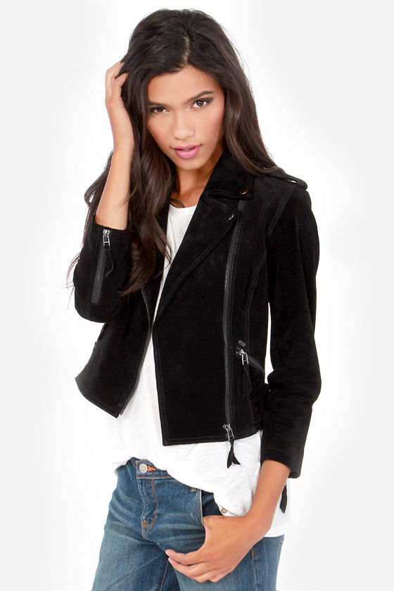 Obey Hitch Hiker Jacket - Black Jacket - Suede Leather Jacket ...