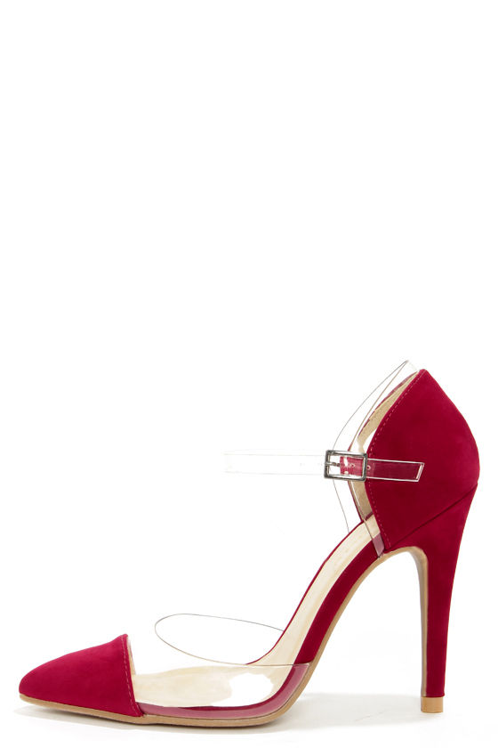 Shoe Republic LA Blandon Red and Lucite D'Orsay Pointed Pumps at Lulus.com!