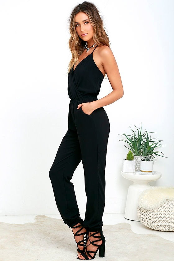 Cute Black Jumpsuit - Sleeveless Jumpsuit - $34.00
