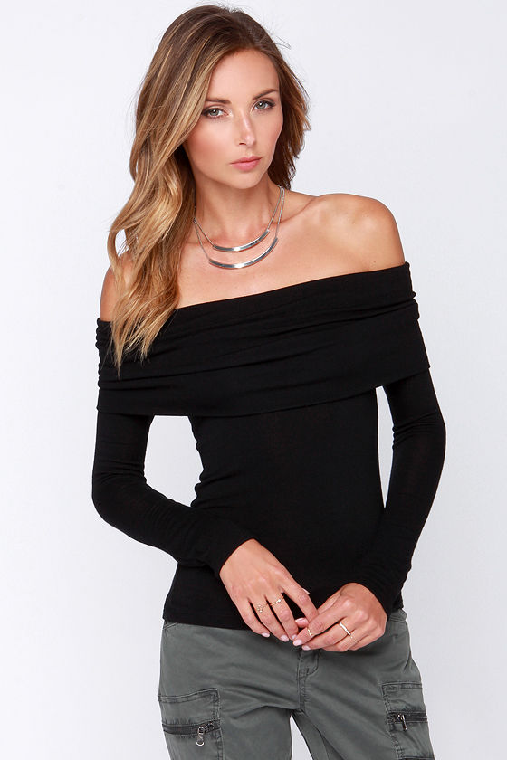 bb72443608cae Chic Black Top - Long Sleeve Top - Off the Shoulder Top -  34.00