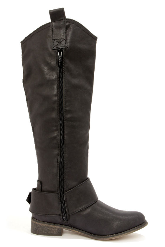 Rider 16 Black Belted Riding Boots at Lulus.com!