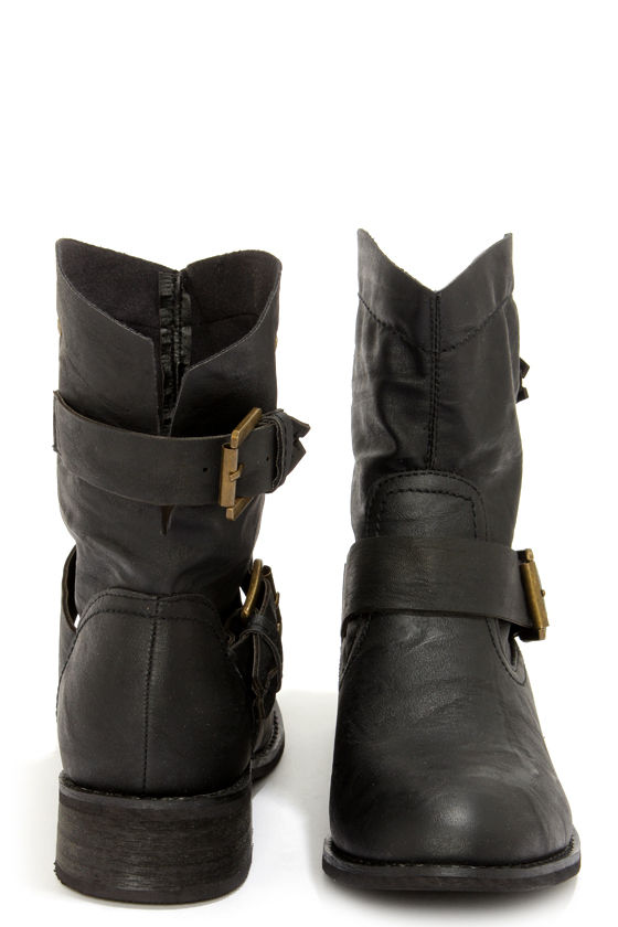 Patrice 1 Black Slouchy Buckled Ankle Boots at Lulus.com!