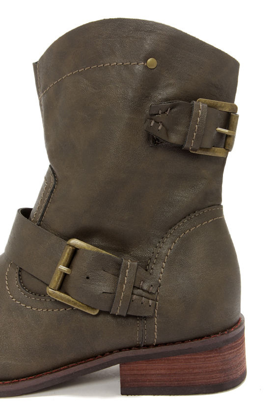 Patrice 1 Olive Slouchy Buckled Ankle Boots at Lulus.com!