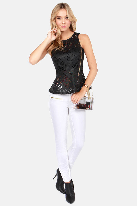 BB Dakota Harmony Cutout Black Peplum Top at Lulus.com!