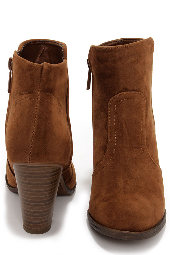 Cute Tan Boots - Suede Boots - Ankle Boots - Booties - $34.00