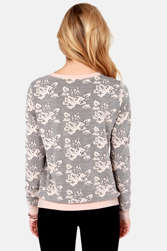 BB Dakota by Jack Tierney Beige Floral Print Sweater at Lulus.com!