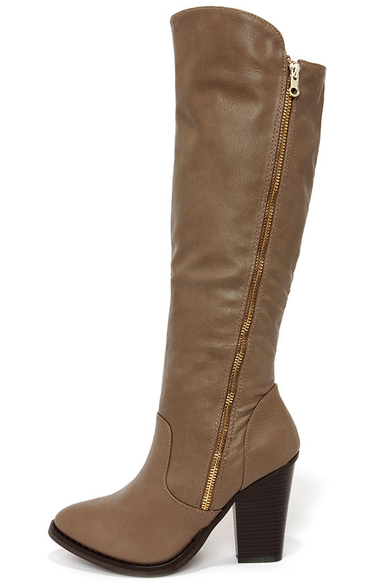 Cute Taupe Boots - Knee High Boots - High Heel Boots - $40.00
