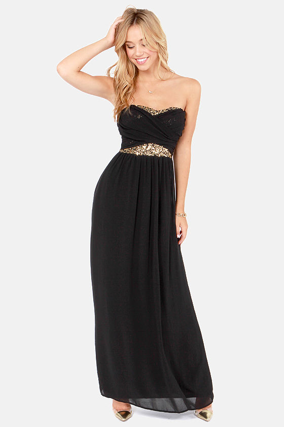 Talk of the Gown Black Sequin Maxi Dress - $63.00 #affiliate