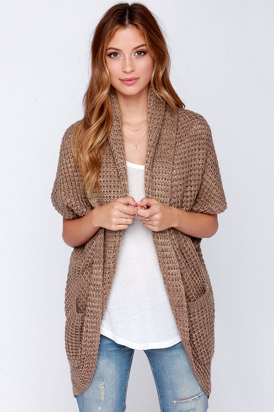 Chic Brown Cardigan - Cardigan Sweater - Cocoon Sweater - $45.00