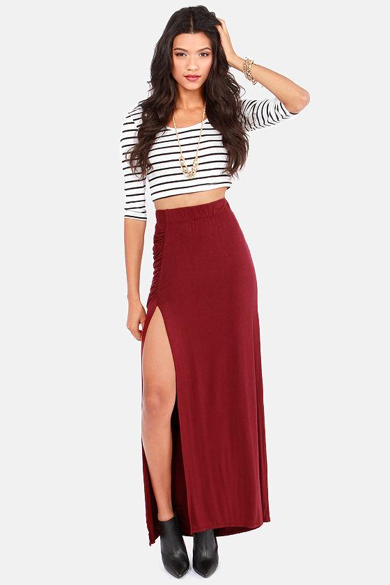 Sexy Burgundy Skirt - Maxi Skirt - Slit Skirt - $37.00