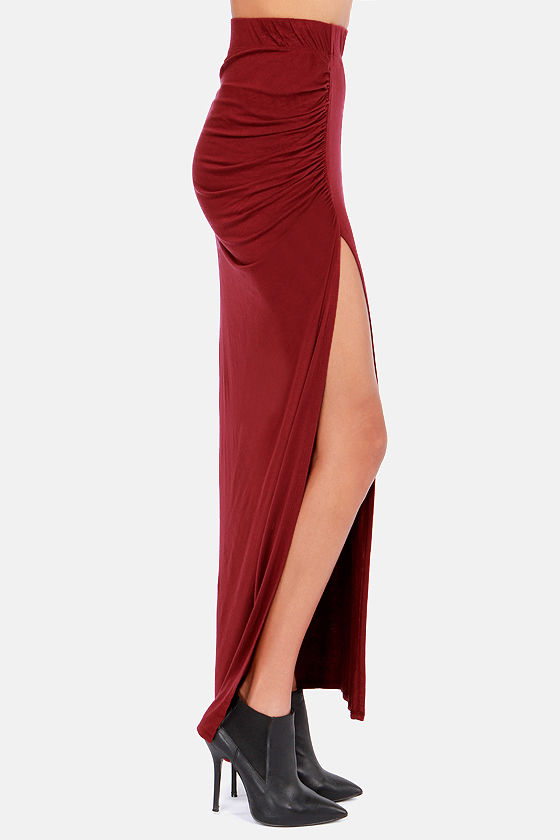 Ruche to Conclusions Burgundy Maxi Skirt at Lulus.com!