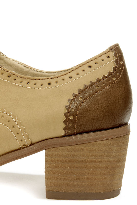 Not Rated Blue Print Taupe and Beige Lace-Up Spectator Heels at Lulus.com!