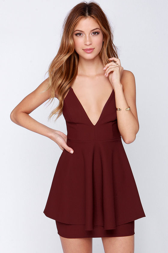 Sexy Burgundy Dress Sleeveless Dress Peplum Dress 44 00