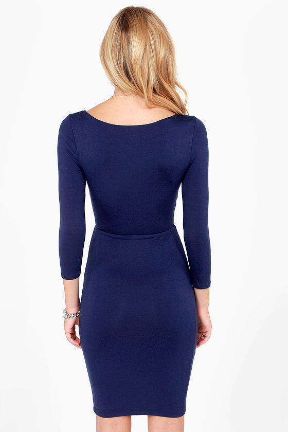 Twist Magic Moment Navy Blue Dress at Lulus.com!