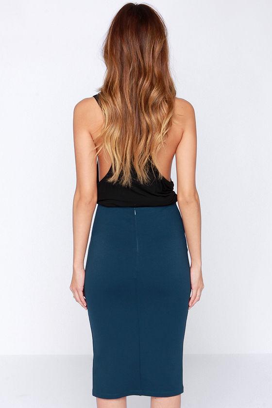 chic navy blue skirt bodycon skirt midi skirt pencil