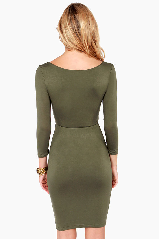 Twist Magic Moment Olive Green Dress at Lulus.com!
