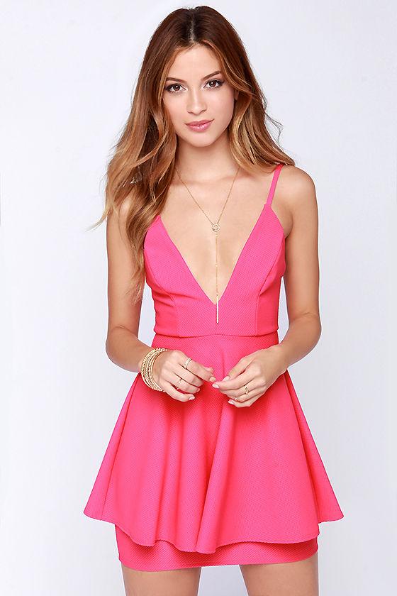 Sexy Hot Pink Dress - Sleeveless Dress - Peplum Dress - $44.00