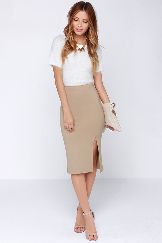 Chic Beige Skirt - Bodycon Skirt - Midi Skirt - Pencil Skirt - $29.00
