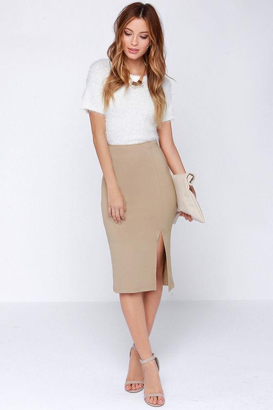 cd4eee47d09f29 Chic Beige Skirt - Bodycon Skirt - Midi Skirt - Pencil Skirt - $29.00