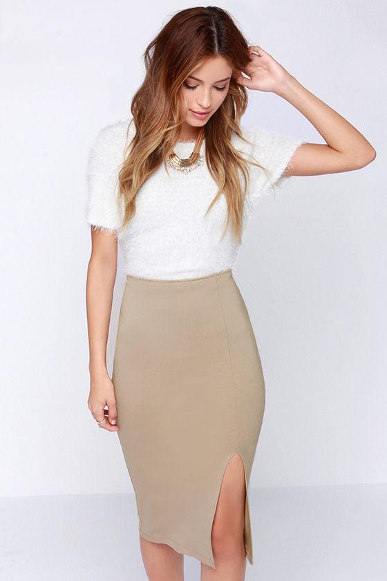 d1d818d5ee Chic Beige Skirt - Bodycon Skirt - Midi Skirt - Pencil Skirt - $29.00