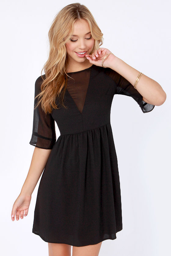Why So Sheer-ious? Cutout Black Dress - $63.00 #affiliate