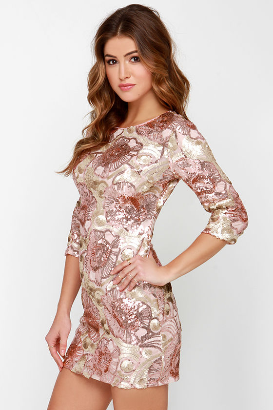 Pretty Pink Dress - Sequin Dress - Rose Gold Dress - $85.00