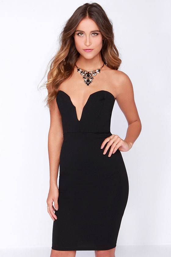 Black Dress - Bodycon Dress - Midi Dress - Strapless Dress - $48.00