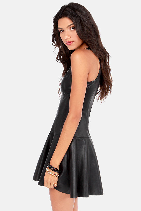 BB Dakota Misty Black Vegan Leather Dress at Lulus.com!