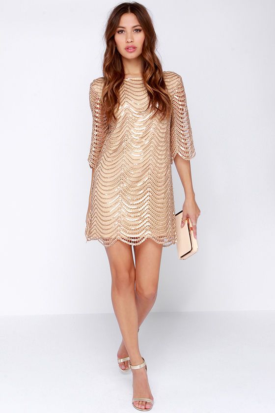 Long sleeve beige sequin dress