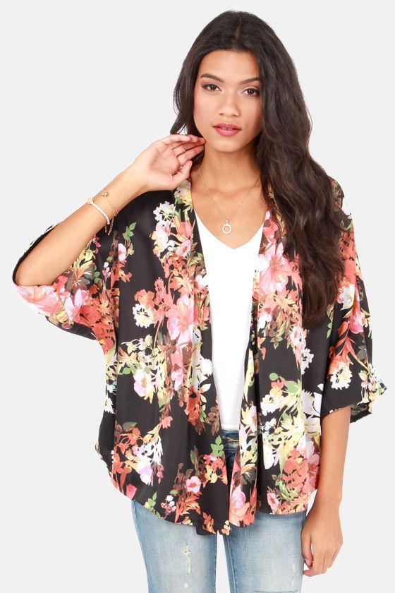 50da6889c3699 Cute Floral Print Top - Kimono Top - Black Top - $45.00