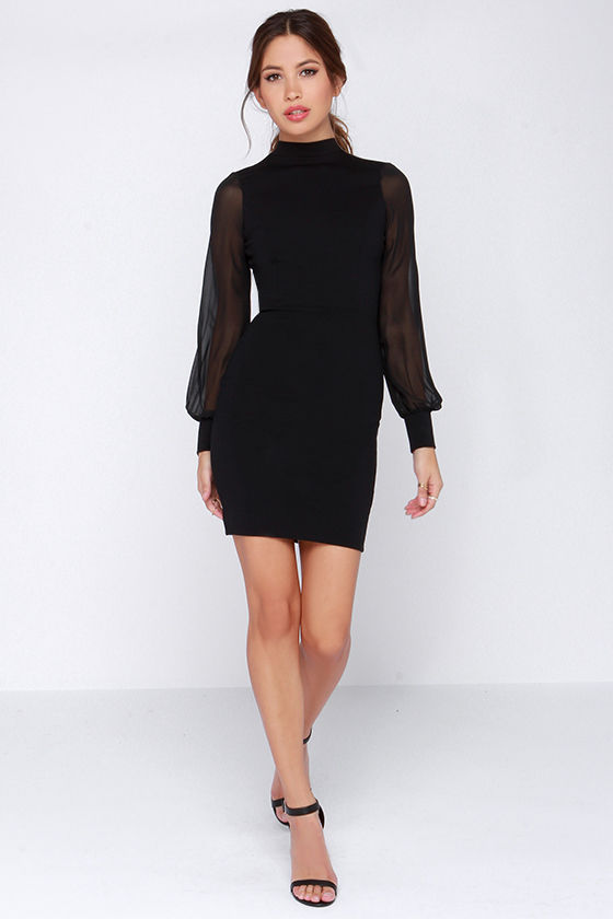 0b57d207d95c6 Black Dress - Long Sleeve Dress - LBD - Bodycon Dress - $48.00