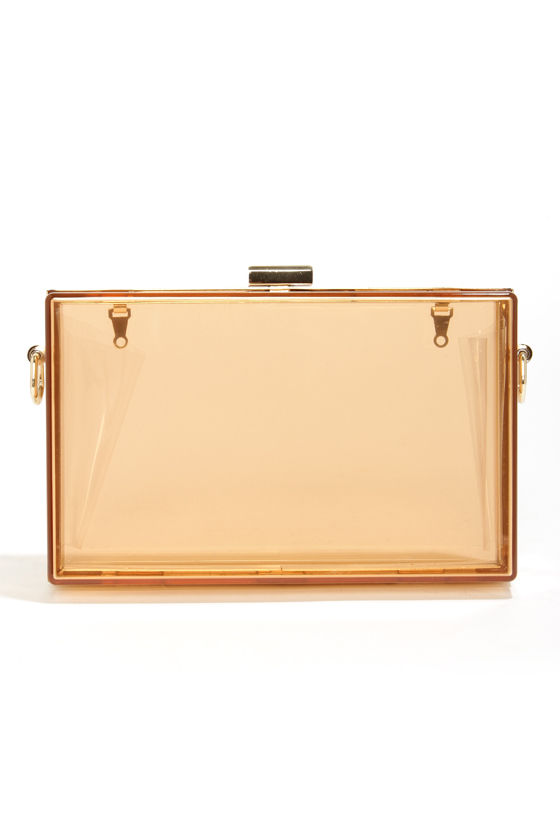 Lucite the Way Amber Lucite Clutch at Lulus.com!
