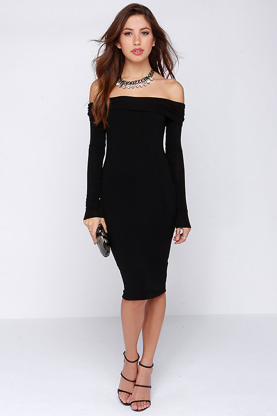 Sassy Black Dress - Off the Shoulder Dress - Sweater Dress - $47.00