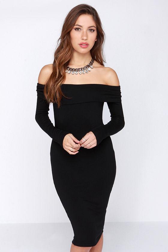 Sassy Black Dress - Off the Shoulder Dress - Sweater Dress - $47.00