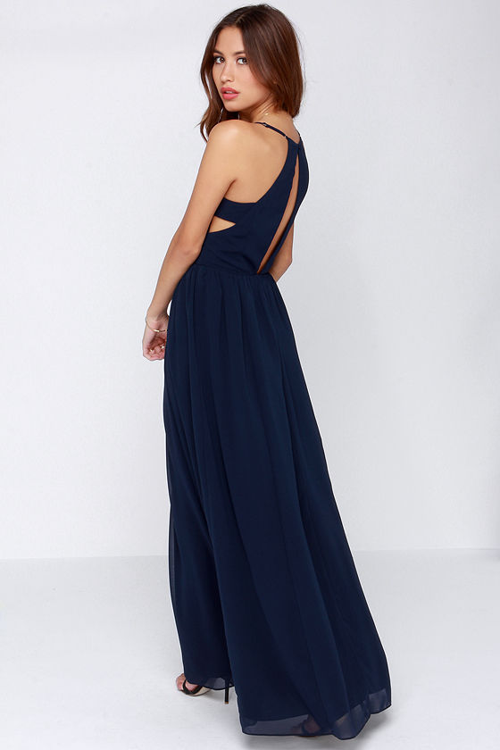 Navy Blue Dress - Maxi Dress - Cut Out Dress - $95.00